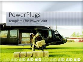 PowerPoint template displaying a person holding the boxes coming out of a helicopter