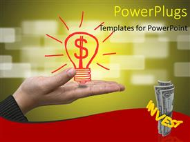 PowerPoint template displaying a person holding the bulb and a bundle of dollar notes