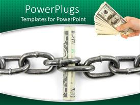 PowerPlugs: PowerPoint template with a person holding a bundle of dollars with a stainless steel chain