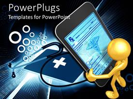 PowerPlugs: PowerPoint template with a person holding the cell phone along with a stethoscope