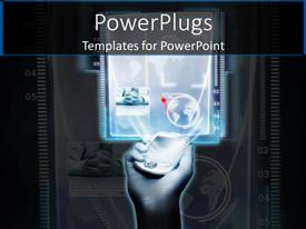 PowerPlugs: PowerPoint template with a person holding a cellphone which contains a lot of applications