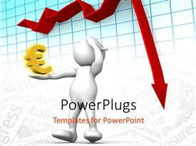 PowerPlugs: PowerPoint template with a person holding the currency sign with a graph in the background