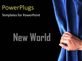 PowerPlugs: PowerPoint template with a person holding the curtain with blackish background