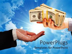 PowerPlugs: PowerPoint template with a person holding the dollar bundles to another person