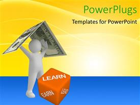 PowerPlugs: PowerPoint template with a person holding the dollar note with yellowish background