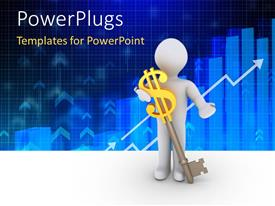 PowerPlugs: PowerPoint template with a person holding the dollar sign key with bluish background