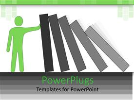 PowerPlugs: PowerPoint template with a person holding the domino blocks