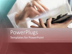 PowerPlugs: PowerPoint template with a person holding the file with place for text