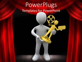 PowerPlugs: PowerPoint template with a person holding a film award with curtains in the background