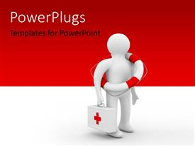 PowerPlugs: PowerPoint template with a person holding the first aid box