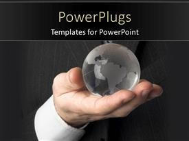 PowerPlugs: PowerPoint template with a person holding the globe with blackish background