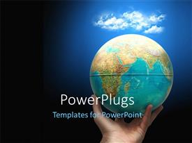 PowerPlugs: PowerPoint template with a person holding the globe with clouds in the background