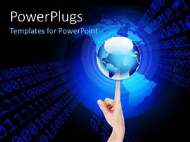 PowerPlugs: PowerPoint template with a person holding the globe on his finger with binary numbers in background
