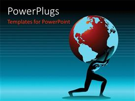 PowerPlugs: PowerPoint template with a person holding a globe with lines in background