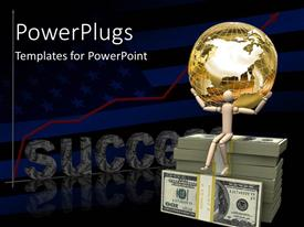 PowerPlugs: PowerPoint template with a person holding the globe with the word success in the background