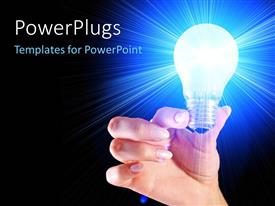 PowerPlugs: PowerPoint template with a person holding the glowing bulb with bluish background