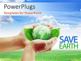 PowerPlugs: PowerPoint template with a person holding a green globe and bluish background