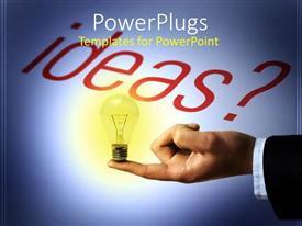 PowerPlugs: PowerPoint template with a person holding the idea with bluish background