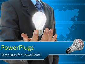 PowerPlugs: PowerPoint template with a person holding an idea in his hand