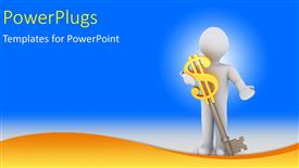 PowerPlugs: PowerPoint template with a 3D character carrying a key with a dollar sign