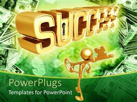 PowerPoint template displaying a person holding the key to success