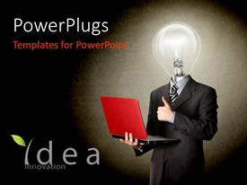 PowerPlugs: PowerPoint template with a person holding the laptop and blackish background