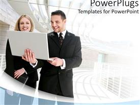 PowerPlugs: PowerPoint template with a person holding a laptop with building in the background