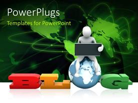PowerPlugs: PowerPoint template with a person holding the laptop with a map in the background