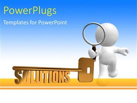 PowerPlugs: PowerPoint template with a person holding the magnifying glass