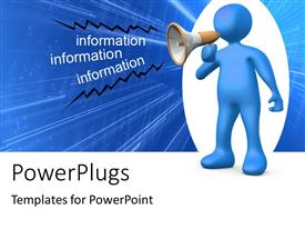 PowerPlugs: PowerPoint template with person holding a megaphone and giving information
