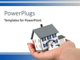 PowerPlugs: PowerPoint template with a person holding a model of the house