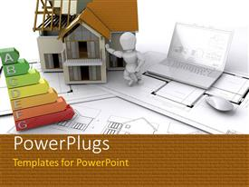 PowerPlugs: PowerPoint template with a person holding the model house with a laptop and white background