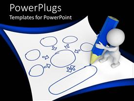 PowerPlugs: PowerPoint template with a person holding the pencil with blackish background