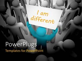 PowerPlugs: PowerPoint template with a person holding the play card declaring himself to be different from others