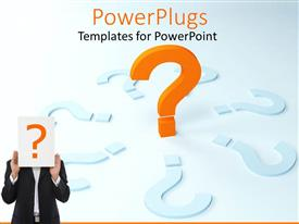 PowerPlugs: PowerPoint template with a person holding the question mark