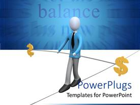 PowerPlugs: PowerPoint template with a person holding a rod with dollar signs on both sides