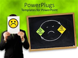 PowerPlugs: PowerPoint template with a person holding the sad symbol