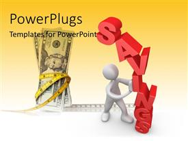 PowerPlugs: PowerPoint template with a person holding the savings with dollar notes in background