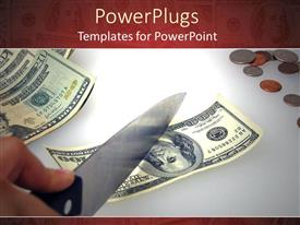 PowerPlugs: PowerPoint template with person holding sharp knife to cut hundred dollar bill