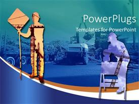 PowerPlugs: PowerPoint template with a person holding a sign along with construction site in the background