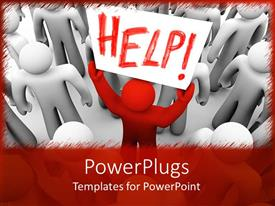PowerPlugs: PowerPoint template with a person holding the sign of help
