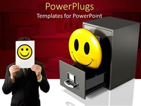 PowerPoint template displaying a person holding the smiley sign