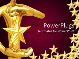 PowerPlugs: PowerPoint template with a person holding the star with purple background