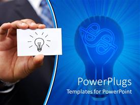 PowerPoint template displaying a person holding the symbol of an idea