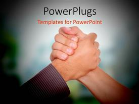 PowerPoint template displaying a person holding th hand of the other one