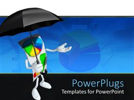 PowerPoint template displaying a person holding the umbrella with pie chart in the background