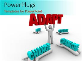 PowerPlugs: PowerPoint template with a person holding the word adapt with change around him