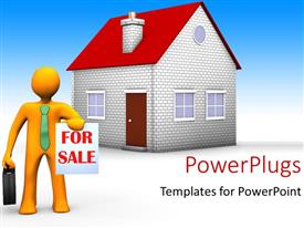 PowerPlugs: PowerPoint template with a person with the house for sale and bluish background