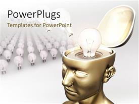 PowerPlugs: PowerPoint template with a person with the idea and a number of ideas in front