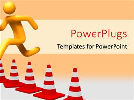 PowerPlugs: PowerPoint template with person jumping to overcome hurdle with orange color